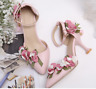 Womens Floral  Ankle Strap Pointy Toe High Heel Shoes Sweet Stilettos Pumps New