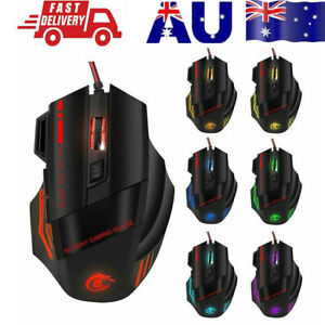 AU 6800DPI LED Wired Optical Backlight Gaming Mouse  FOR PC Laptop 7 Button