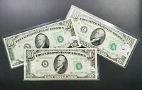 Set Lot 3 Consecutive LOW Serial Number # 1950 D $10 Federal Reserve Note CH UNC