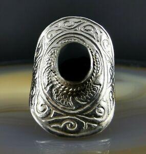 Ausgefallener hübscher Ethno Onyx Ring 925 Silber 17 mm