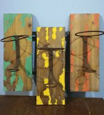 VINTAGE WINE RACK HOLDER WOOD PLANK WALL MOUNTED PAINTED GREEN YELLOW ORANGE