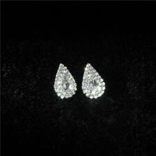 Pair silver & diamante crystal rhinestone TEARDROP shaped halo stud earrings