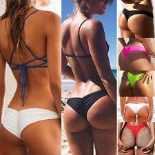 f0ba04ddd4 Womens Cheeky Ruched Swimwear Scrunch Brazilian Thong Summer Bikini Bottom  Black