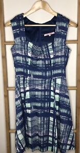REVIEW Size 10 Blue Green Crosshatch Print Dress Fit  & Flare