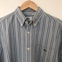 LACOSTE Vintage Men's Striped Button Up Polo Shirt Size Large 44''Chest