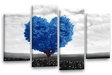 """Blue White Floral Wall Art Grey Landscape Abstract Love Canvas 4 Panel 44 X 27"""""""