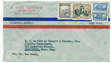 Columbia 1945 Airmail Cover #522 Overprint & Postal Tax Calle to Pennsylvania Us