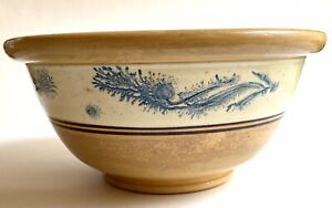 "Antique Large Mochaware BLUE Seaweed Yellow Ware BOWL Vintage 13"" Inches Mocha"