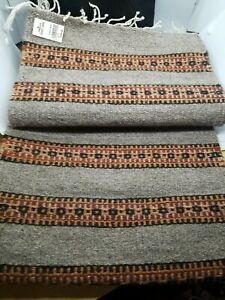 Beautiful Area Rug Runner Accent Mat Carpet: Handwoven in Mexico 100% Wool 16x66