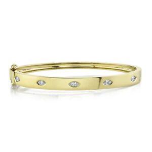 Taglio Marquise Diamante Bracciale Rigido 14k Oro Giallo Naturale Donna F VS2