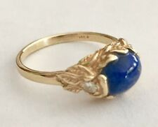 Vintage 14K Yellow Gold Ring with Oval Blue Lapis & 2 Diamonds  (size 7.25)