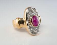 Diamond Ruby Ring 14K Gold Band Vintage Estate