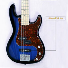 New style 4 string electric bass basswood body maple neck maple black turn blue