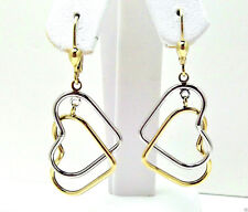 9CT HALLMARKED YELLOW & WHITE GOLD INTERLINKED OPEN HEART DROP EARRINGS