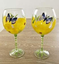 "Hand Painted 9"" Wine Glasses Yellow Flowers With Butterfly"