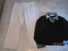Gap misses sz 18 Classic Fit bootcut beige dress pants & Como top sz 1X LOT d3