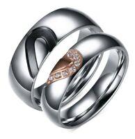 Coppia anelli fedi mezzo cuore fedine acciaio inox fidanzamento incisione nome
