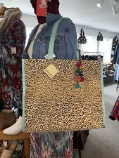 Atenti Nwt Hollywood Leopard Grand Tote Shopper Knitting Shoulder Bag