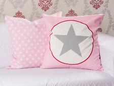 Krasilnikoff Kissenhülle 50x50 Stern rosa Kissenbezug pink grau Sterne weiß Kiss