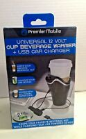 New Universal 12 Volt Usb Car Charger Cup Beverage Warmer Premier Mobile P12VCW