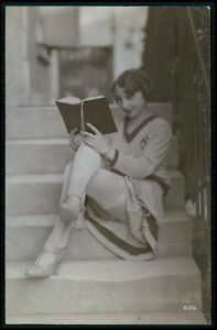 French risque woman read book on stairs original vintage old 1920 photo postcard