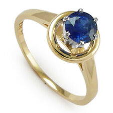 14k Two-Tone Gold Fine Blue Sapphire engegement Ring #R1014