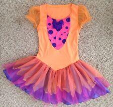 Orange Pink Purple Girl Jr Sm Pm Leg Avenue Spandex Dress Costume w Dots & Bow