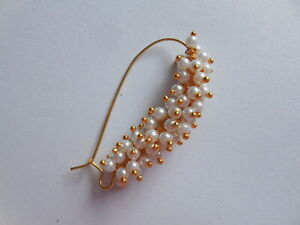Maharashtrin Pearl Ethnic Nath Nose Ring Piercing Wedding Nostril Pin Jewelry