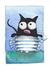 ACEO Original watercolor painting whimsical black kitty cat floating teapot sea