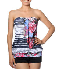 Smash Barcelona S-XXL UK 10-18 RRP ?34 Mallet Strapless Top Black WhiteFloral