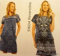 ORIENTIQUE NEW REVERSIBLE 2 looks 1 dress ANDROS blue CAP SLEEVE COTTON 51604