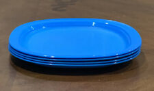 TUPPERWARE MICROWAVE REHEATABLE LEGACY DESERT PLATES SET /IN BLUE COLOR / 8 In