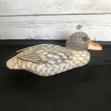 Hand Painted Glass Eye Wooden Duck Decoy Signed & Dated