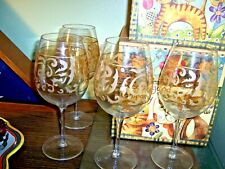 "Set of 4 oversized 10"" Delicate Gold Patterned Crystal Wine Glasses"