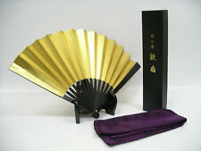 "Japanese Ogata Sword Iron Fan Samurai Tessen 240mm 9.4"" Gold For display JAPAN"