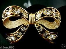Signed Swarovski Crystal Bow Pin /Brooch Retired Rare Nwt