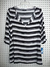 Nautica Beach Swim Suit Cover Up Black & White Vee Neck XS New With Tags