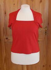 PRECIS Tomato Red Stretch Collo Quadrato Tunica Manica Corta T-shirt top L 16 44