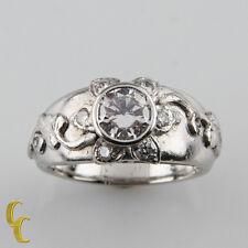 Platinum Sunflower Diamond Engagement Ring w/ GIA Certified .70 ct Center Stone