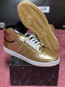 Adidas Top Ten Hi Star Wars C-3PO Men's Size 9.5 Gold Metallic New in Box FY2458