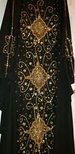 WOMANS LUXURY ABAYA GOLD CRYSTALLIZED WEDDING DUBAI KAFTON EID HENNA GORGEOUS!!