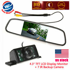 "4.3"" TFT LCD Display Car RearView Mirror Monitor + 7 IR RearView Backup Camera"