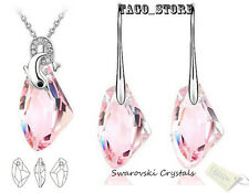 Sparkling Made with Swarovski Pink Rose Crystal Necklace Pendant Earring Set