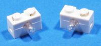 LEGO - 2 x Lampenstein Lichtstein Leuchtstein 9 Volt 1x2 weiss / 6035 NEUWARE