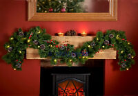 Christmas 6FT pre lit Garland with pine cones & red berries  garland .