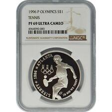 1996-P Olympics Tennis Commemorative Proof Silver Dollar NGC PF69 Ultra Cameo