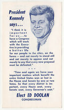 Rare 1962 EDWARD DOOLAN Congress JFK John Kennedy PALM CARD Massachusetts