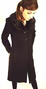 New Season Trench Coat Black Ladies Cashmere Fur Collar Long  8 10 12