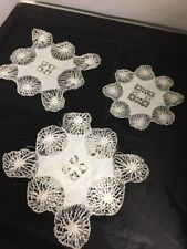 New listing Exquisite Vintage Hand Crocheted Doilies- lot of 3 Round Square