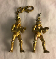 "Lot of 2 Vintage Star Wars 1997 Metal Stormtrooper Empire Gold 3"" Keychains"